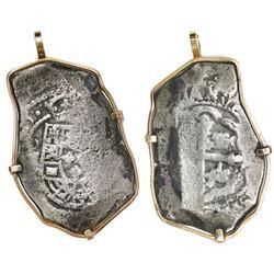 Mexico City, Mexico, cob 8 reales, (17)15(J), ex-1715 Fleet, mounted in 14K gold bezel.