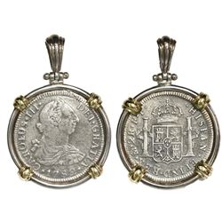 Mexico City, Mexico, bust 2 reales, Charles III, 1782FF, ex-Cazador (1784), mounted in silver bezel