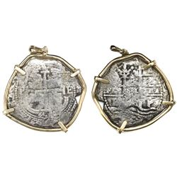 Potosi, Bolivia, cob 8 reales, 1656E, mounted in 14K gold bezel.