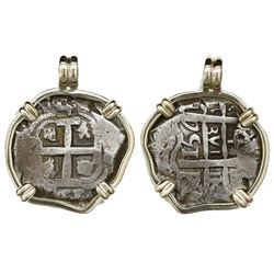 Potosi, Bolivia, cob 4 reales, 1751q, mounted cross-side out in 14K gold bezel.