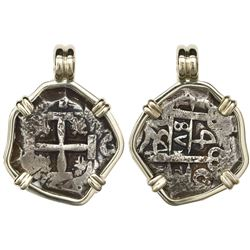 Potosi, Bolivia, cob 4 reales, 1754C, mounted cross-side out in 14K gold bezel.