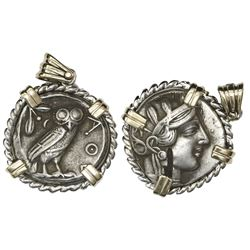 Attica, Athens, AR tetradrachm, 454-404 BC, mounted owl-side out in twisted-rope silver bezel with 1