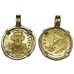 Byzantine Empire, AV solidus, Constans II (641-668 AD), mounted Christ-side out in 18K gold bezel.