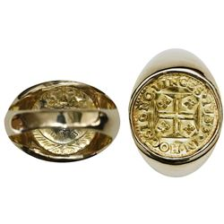 Portugal (Lisbon mint), gold 400 reis, Joao V, 1733, mounted in 14K men's ring (size 8-1/2).