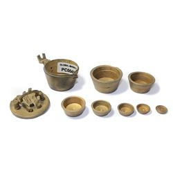 Complete brass set of nested cup-weights, probably made in Nuremburg, with markings of Ferdinand and