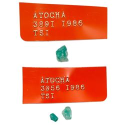 Lot of three natural emeralds, 2.25 carats total, ex-Atocha (1622).