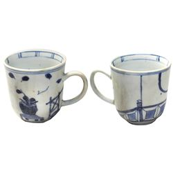 Intact blue-on-white Chinese porcelain cup with handle, Kangxi period, ex-HMS Winchester (1695), ver