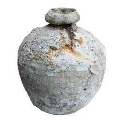 "Intact earthenware ""olive jar"" with stand, ex-Yucatan wreck (1600s-1700s)."