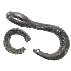 Iron cargo hook and connector ring, conserved and intact, ex-1733 Fleet.