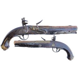 Brass-barreled English flintlock pistol, late 1700s.
