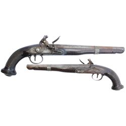 English or European .60 caliber flintlock pistol, late 1700s.