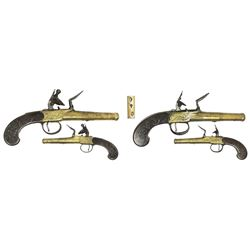 Matched set of British box-lock flintlock dueling pistols, early 1800s