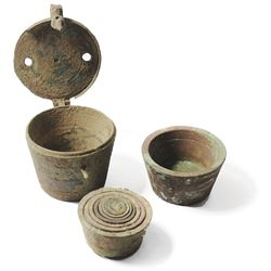 Complete brass set of nested cup-weights in lidded case, probably made in Nuremburg, used in the Spa