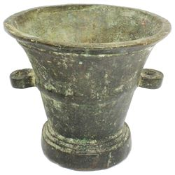 British Royal Navy surgeon's bronze mortar with handles, 1600s.