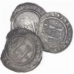 """Lot of three Mexico City, Mexico, 4 reales, Charles-Joanna, """"Late Series,"""" assayers G and L."""