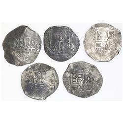 Lot of five Mexico City, Mexico, cob 8 reales, Philip IV, assayer D.