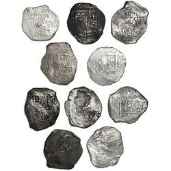 Lot of ten Mexico City, Mexico, cob 8 reales, Philip IV, assayer P (where visible).