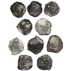 Lot of ten Mexico City, Mexico, cob 4 reales, Philip IV, assayer P (where visible).