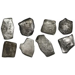 Lot of eight Mexico City, Mexico, cob 8 reales, Charles II, assayer L (where visible).