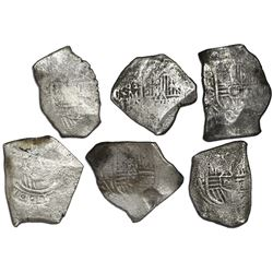 Lot of six Mexico City, Mexico, cob 8 reales, Charles II, assayer L (where visible).