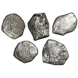 Lot of five Mexico City, Mexico, cob 4 reales, Charles II, assayers G and L (where visible).