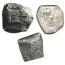 Lot of three Mexico City, Mexico, cob 4 reales, Charles II, assayers G and L (where visible).