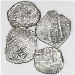 Lot of four Potosi, Bolivia, cob 1R (one shield-type, one 1652 transitional, one 1657E and one 1674E