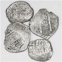 Lot of four Potosi, Bolivia, cob 1R (one shield-type, one 1652 transitional, one 1657E and one 1674E