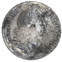 London, England, crown, William III, (1696), third bust, OCTAVO on edge.