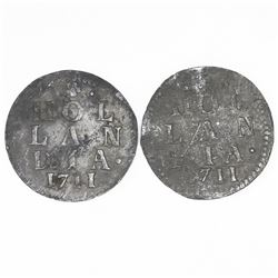 Lot of two Holland, United Netherlands, 2 stuivers, both 1711.