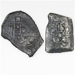 Lot of two Mexico City, Mexico, cob 4 reales, Philip V, assayer J and not visible, uncleaned.