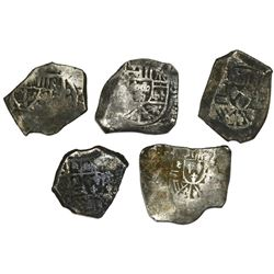 Lot of five Mexico City, Mexico, cob 4 reales, Philip V, assayers not visible.