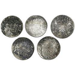 Lot of five Mexico City, Mexico, pillar 8 reales, Philip V: 1734MF, 1735MF, 1736MF, 1737MF and 1738M