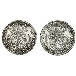 Lot of two Mexico City, Mexico, pillar 8 reales, Philip V, 1735MF.
