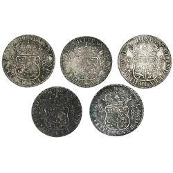 Lot of five Mexico City, Mexico, pillar 8 reales, Philip V, 1736MF.