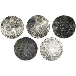 Lot of five Mexico City, Mexico, pillar 8 reales, Philip V, 1737MF.