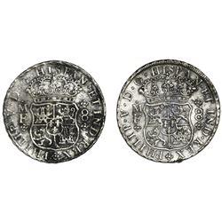 Lot of two Mexico City, Mexico, pillar 8 reales, Philip V, 1742MF.