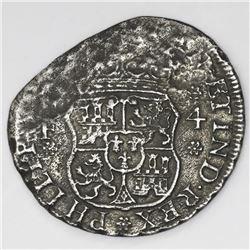 Mexico City, Mexico, pillar 4 reales, Philip V, 1742MF, no neck-mould on right pillar.