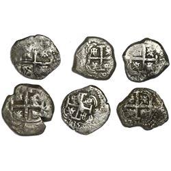 Lot of six Spanish colonial cob minors, as follows: Lima 2R 1744V; Potosi 4R 1749q; Potosi 2R 1735E,