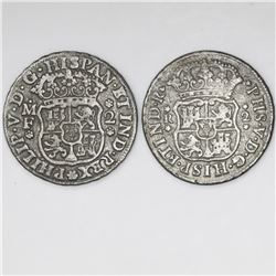 Lot of two Mexico City, Mexico, pillar 2 reales, Philip V, 1739MF and 1743M.