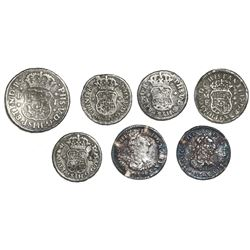 Lot of seven Mexico City, Mexico, small minor pillars and busts: 1R 1745M; 1/2R 1734MF, 1742M, 1743M