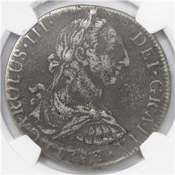 Mexico City, Mexico, bust 8 reales, Charles III, 1783FF, encapsulated NGC El Cazador / genuine.