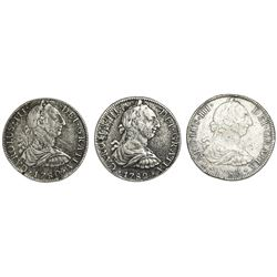 Lot of three Mexico City, Mexico, bust 8 reales, Charles III, as follows: 1780FF, 1782FF and 1783FF.