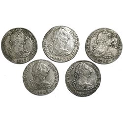 Lot of five Mexico City, Mexico, bust 8 reales, 1783FF.