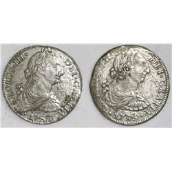 Lot of two Mexico City, Mexico, bust 8 reales, Charles III, 1783FF.