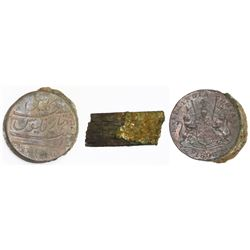 Encrusted clump of eight English East India Company copper XX cash (1808).