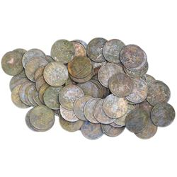 Large lot of 100 British East India Co. copper X cash, 1808.