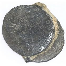 Clump of two Spanish colonial bust 8 reales, one showing bust of Charles IV.