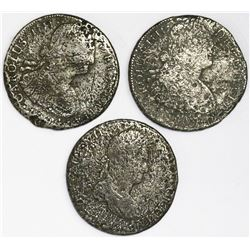 Lot of three Spanish colonial bust 8R: Mexico 1804TH, Potosi 1804PJ, and Lima 1813JP.