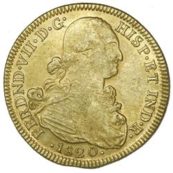 Bogota, Colombia, gold bust 8 escudos, Ferdinand VII (bust of Charles IV), 1820JF.